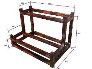 木製園芸用鉢植え花台寸法図