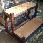 木製園芸用鉢植え花台完成品設置